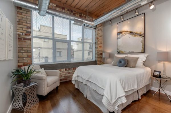 фото дизайна спальни в стиле лофт