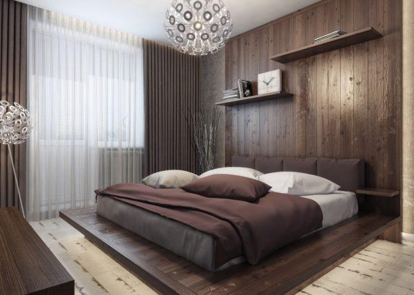 коричневая спальня в стиле лофт