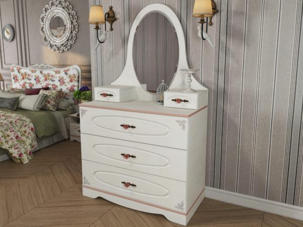 белый комод с зеркалом в интерьере спальни