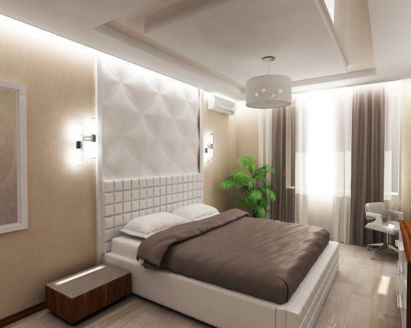 лаконичный дизайн маленькой спальни