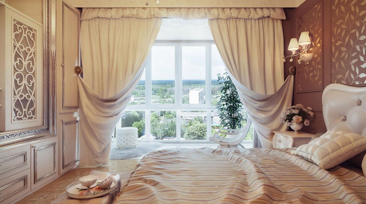 смещением оформление штор в спальне фото ресторан