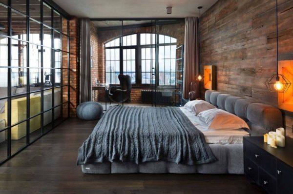 правильный декор для спальни в стиле лофт
