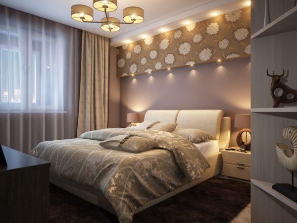 лаконичный интерьер маленькой спальни