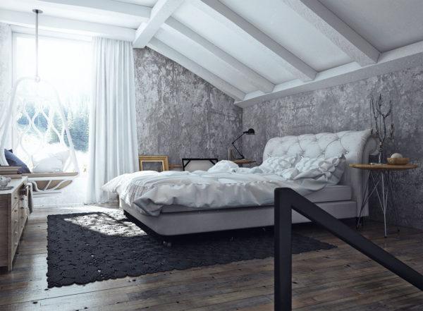 спальня в стиле лофт для творческих натур