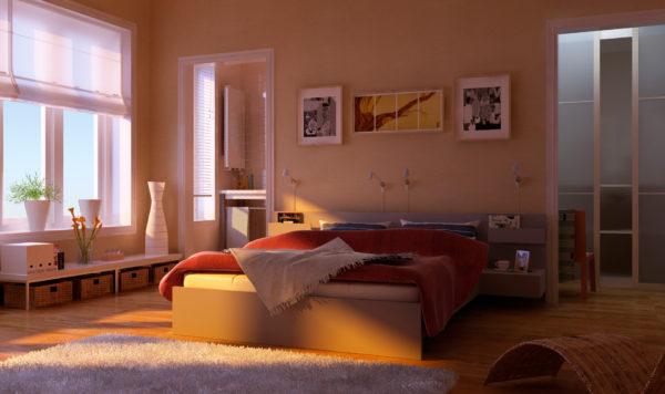современное оформление покрывала на кровать в спальню