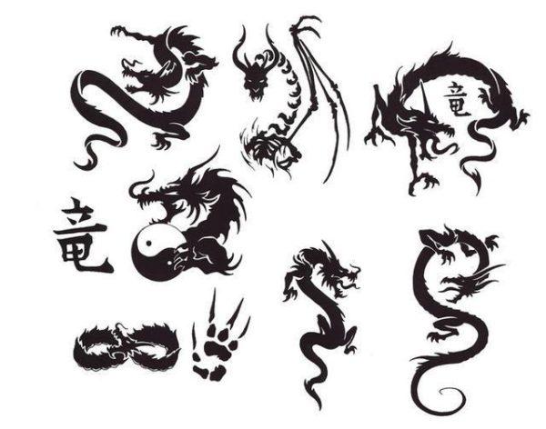 трафарет драконов