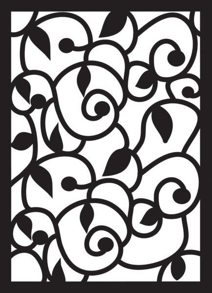 квадратный орнамент с листьями