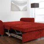 ярко-красный диван-кровать с ортопедическим матрасом