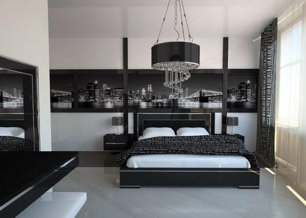 интерьер в спальне хай-тек