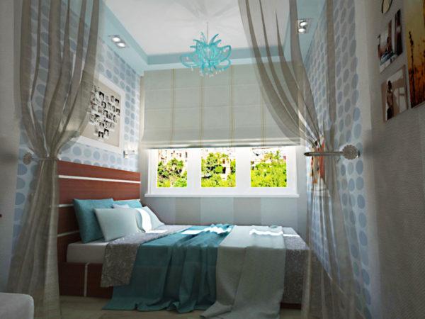 необычное оформление небольшой спальни