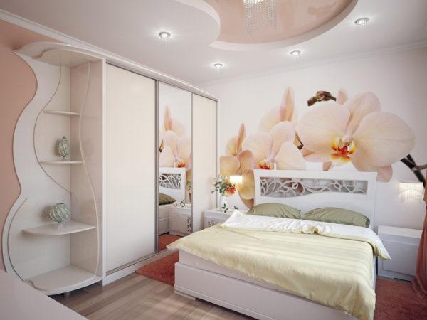 белый шкаф-купе в интерьере спальни