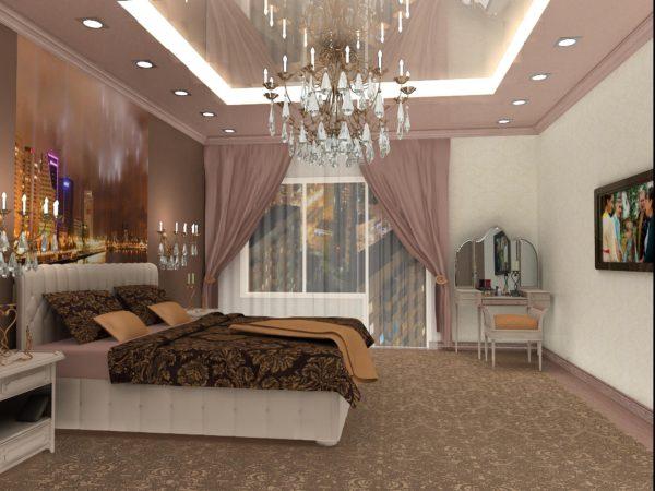 фото большой люстры в спальню