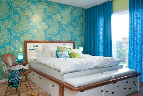 цветовая палитра обоев в спальни для занавесок