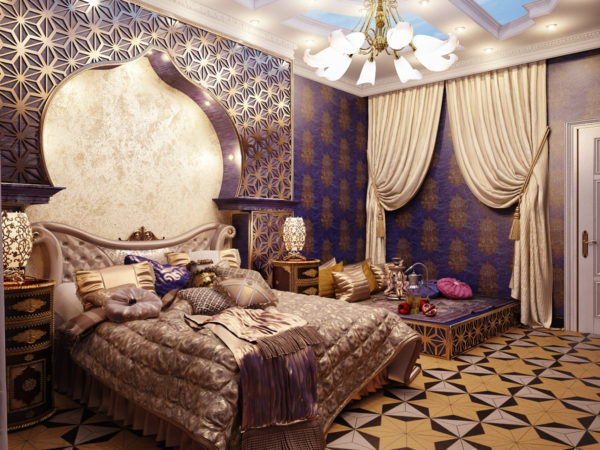 фото. декорирование спальни в восточном стиле