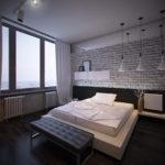 дизайн помещения для спальни в стиле лофт