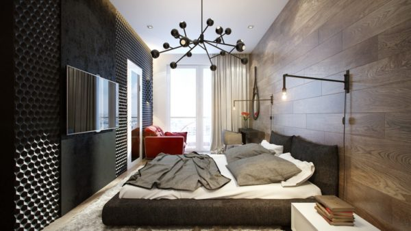дизайнерские решения для спальни в стиле хай-тек