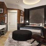 дизайнерское решение для спальни лофт