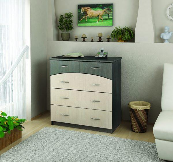 зелено-бежевый комод в спальне