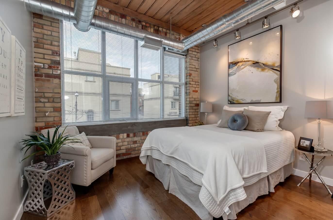 Дизайн спальни в стиле лофт фото