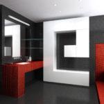 хай-тек в ванной комнате-декор