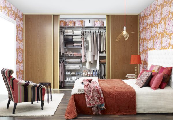 фото идеи для гардеробной во всю стену в спальне