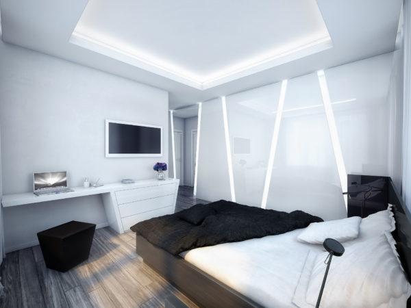 интерьер маленькой спальни в хай-тек стиле