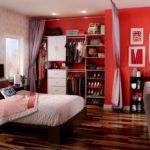 интерьер спальни с гардеробной