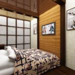 необычный дизайн небольшой спальни