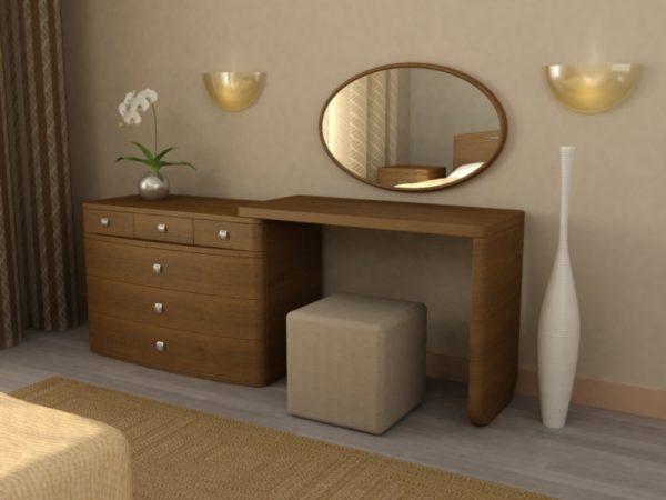 фото коричневого комода в спальне
