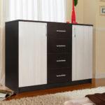 черно белый комод в интерьере спальни