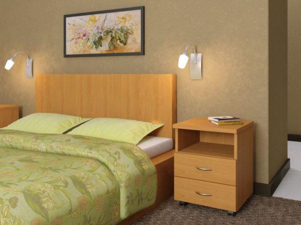 красивый необычный дизайн прикроватной тумбы в спальню