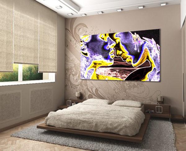 оригинальные картины в интерьере спальни