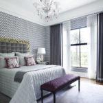 роскошный красивый дизайн штор в спальне