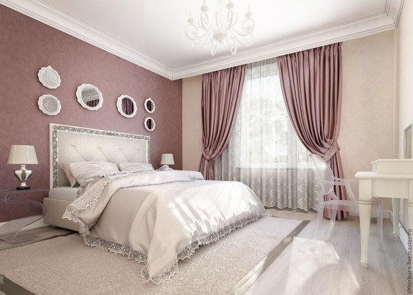 красивый необычный дизайн штор в спальню