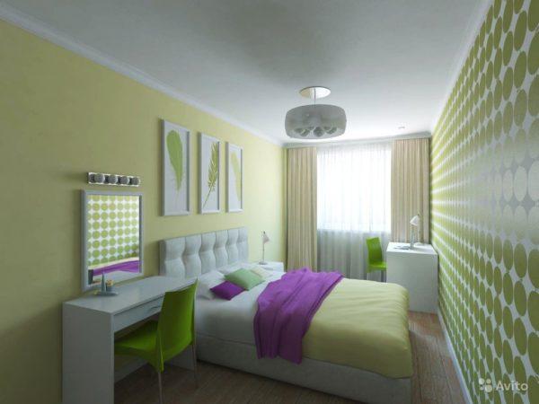 яркий дизайн маленькой спальни