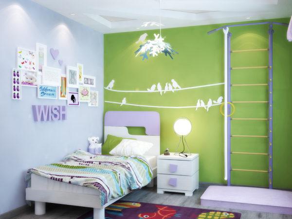 красивое оформление комнаты детской спальни
