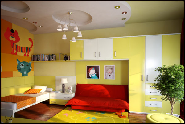 красивый дизайн комнаты детской спальни
