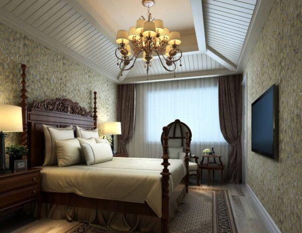 фото люстры для спальни в темных тонах