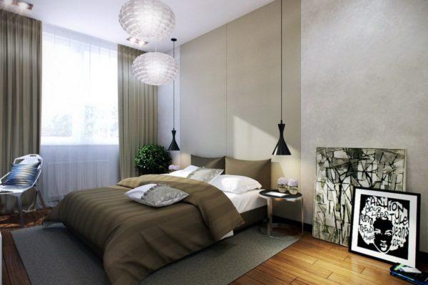 люстра в дизайне спальни