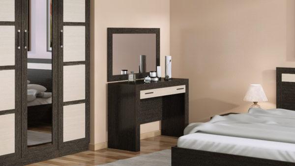 красивый туалетный столик с зеркалом в спальне