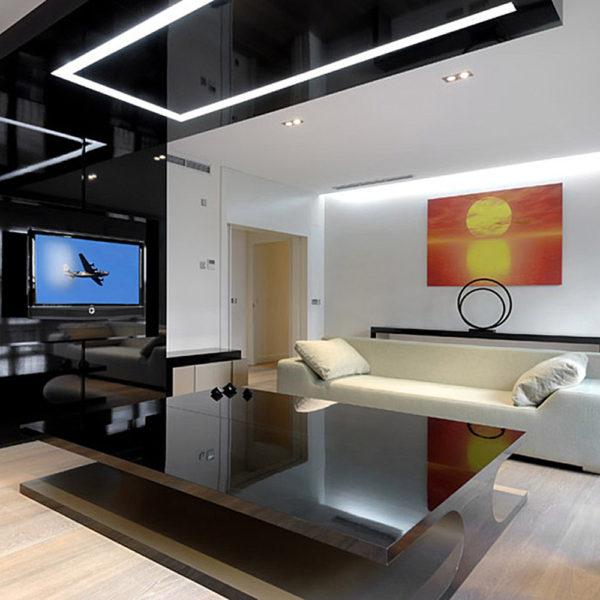 натяжные потолки для стиля хай-тек