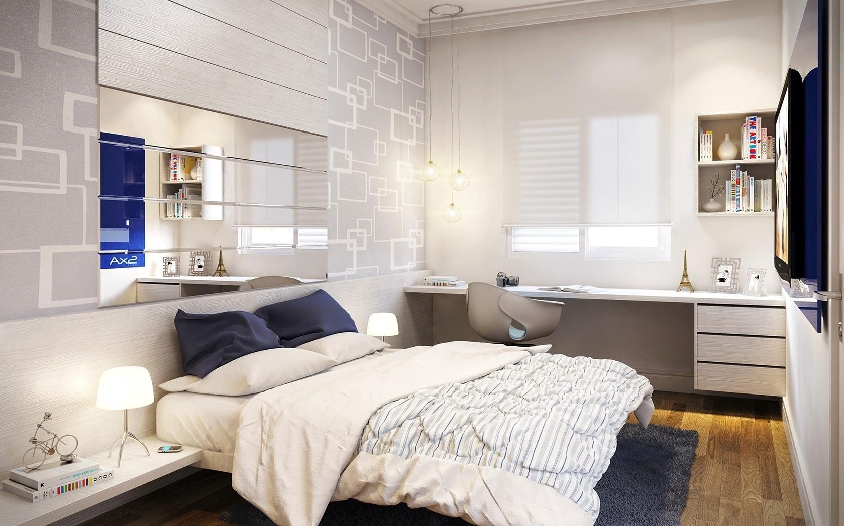 Небольшая спальня с красивой отделкой