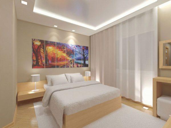 фото красивых картин в интерьере спальни