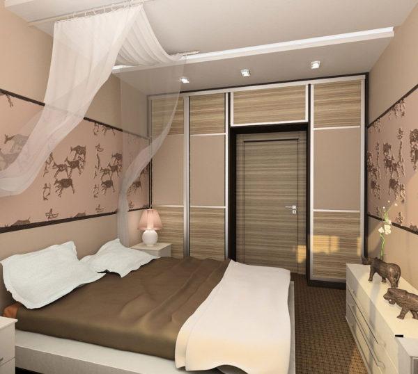 необычное оформление маленькой спальни