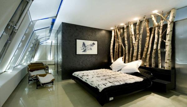 необычный интерьер спальни хай-тек