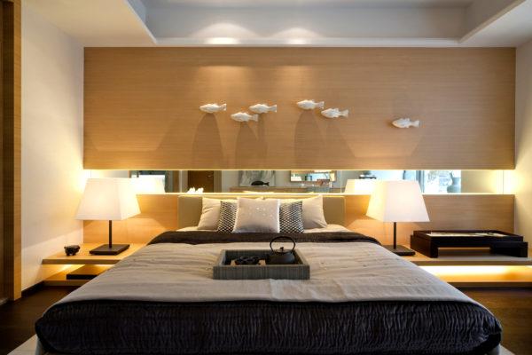 фото необычного интерьера спальни в стиле модерн