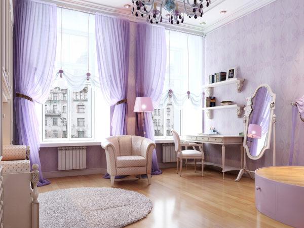фото обоев в спальню в фиолетовых тонах