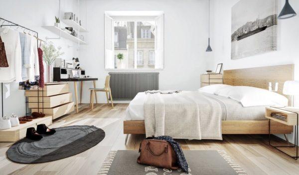 оформление дизайна спальни в скандинавском стиле