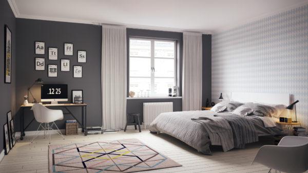 традиционный дизайн комнаты спальни в скандинавском стиле