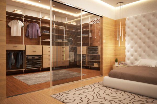 оригинальная гардеробная в спальне